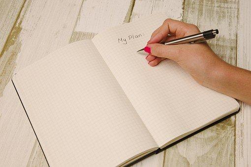 手臂, 手, 办公桌, 笔记本, 笔, 写作, 写, 要做, 规划师, 组织