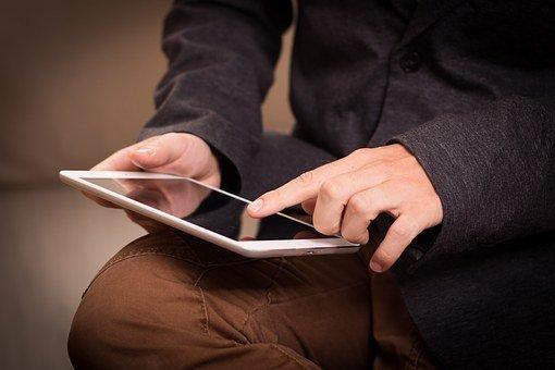 平板电脑, Ipad公司, 读, 读取, 屏幕, 刷卡, 触摸, 将指定, 点